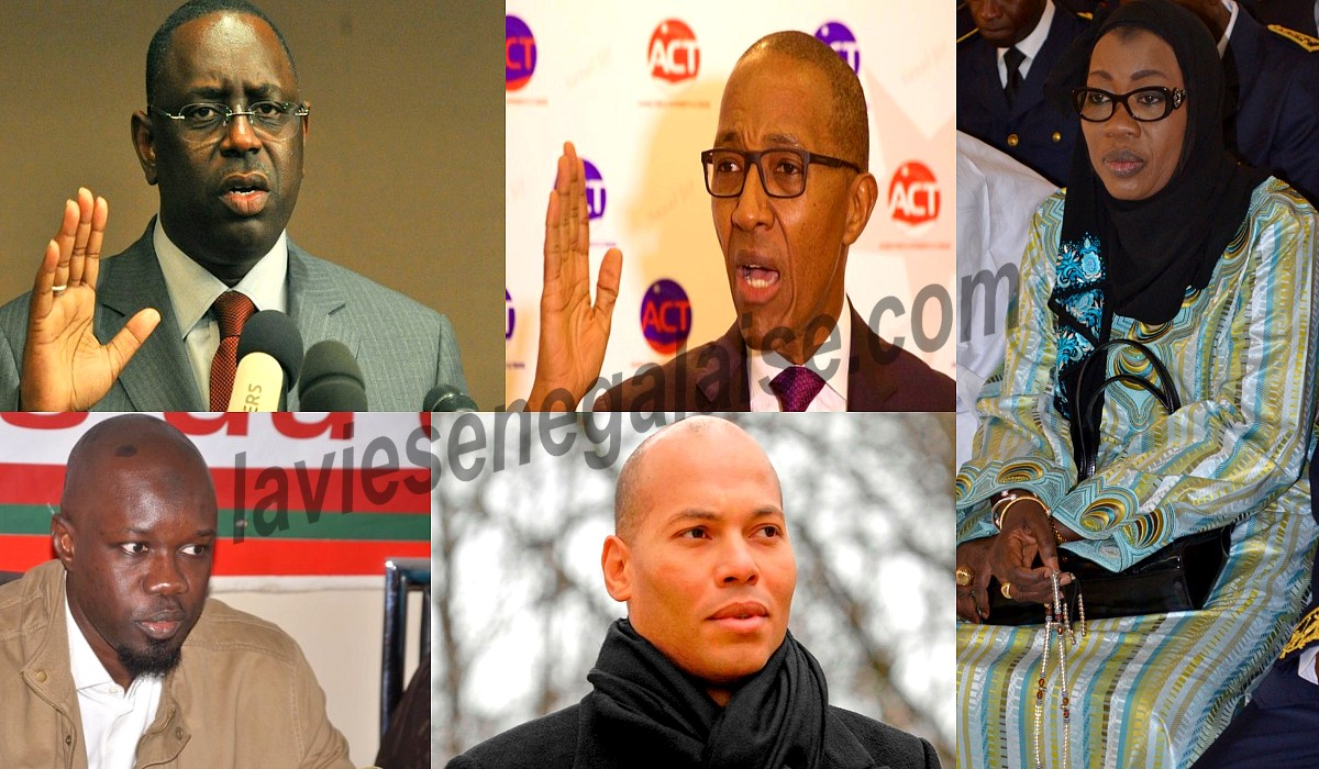 Macky Sall, Abdoul Mbaye, Karim Wade, Nafi Ngom, Ousmane Sonko