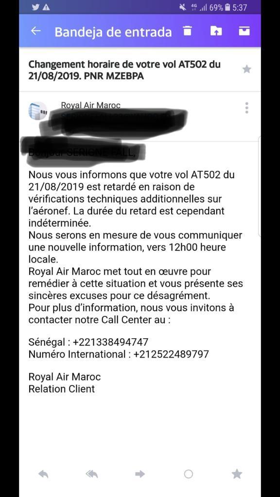 Message de la compagnie Royal Air MAROC