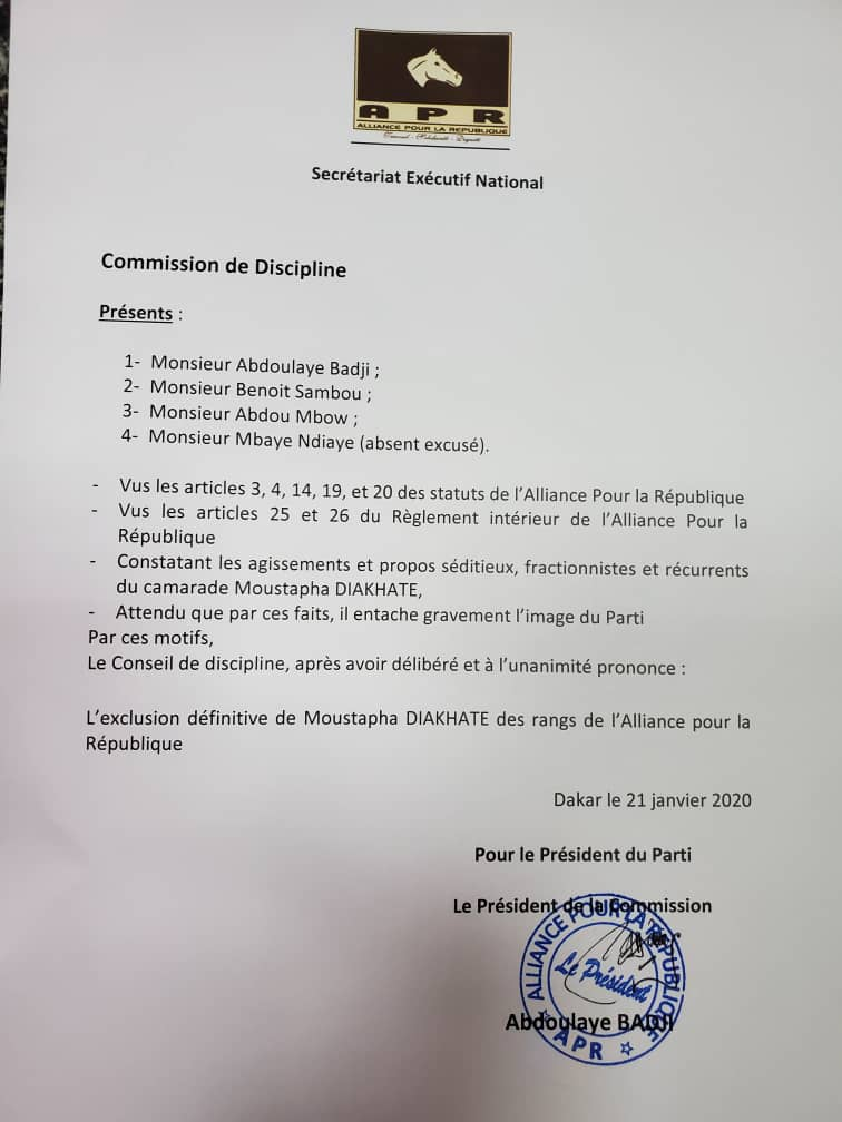 Moustapha Diakhaté exclu de l'Apr