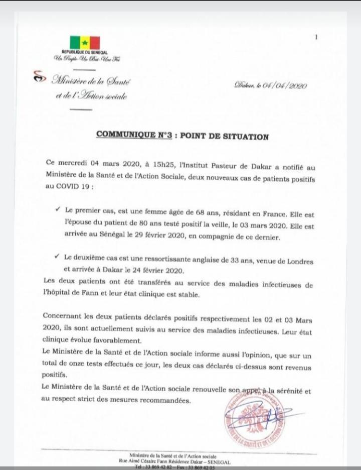 Le Sénégal enregistre deux nouveaux cas de Coronavirus