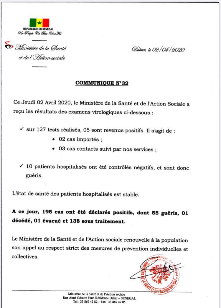 Communiqué COVID-19 du 2 avril 2020